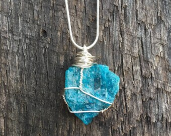 Hand Wrapped Apatite. Great for the throat chakra, dream stone, inner creativity, healing,
