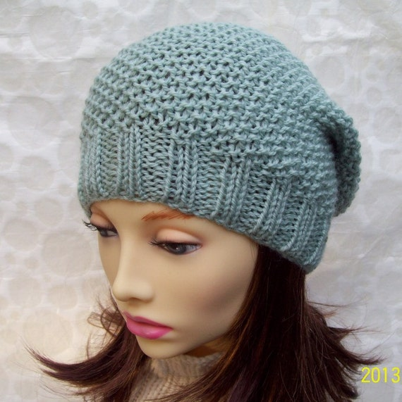 Knitting Pattern Womens Slouchy Hat Pattern Knit Round Easy Hat