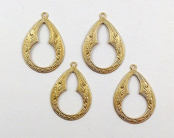 Raw Brass Bohemian Teardrop Stamping Pendant 20mm x 30mm - 4 pcs. (r120)