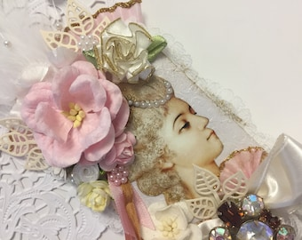 Marie Antoinette Gift Floral Collage Marie ATC ACEO Artist Trading Card Original Art Card Mixed Media ATC