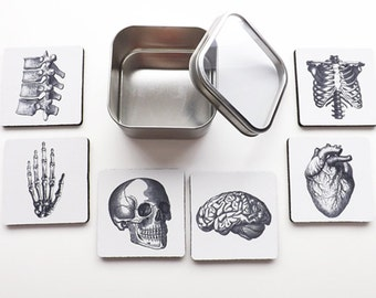 Medical Student Gift Graduation Anatomy COASTERS goth for doctor nurse practitioner physician assistant anatomical heart bones skeleton med