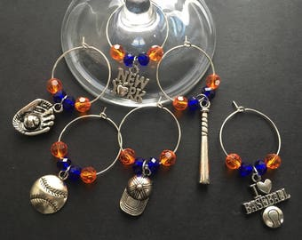 NEW YORK METS Themed Baseball Wine Charms - Set of 6