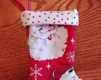 Santa Polka Dot Mini Christmas Stocking