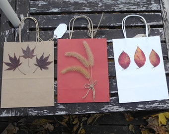 Fall gift bag etsy three medium paper gift bags decorated with autumn leaves and seeds natural gift wrap negle Image collections