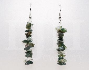 Handmade Green Agate Gemstone Bar Dangle Drop Hook Earrings