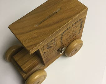 Toystalgia wooden truck music box/coin bank