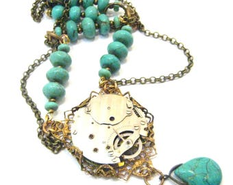 Turquoise  Elegance ... Steampunk Victorian Watch Movement Necklace, Turquoise Victorian Elegant Steampunk Necklace, One of a Kind