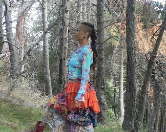 colorful ethnic boho chic skirt
