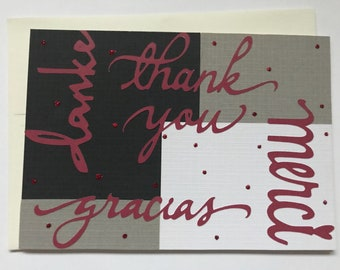 Multi-Language Handmade Thank You Card in Black, White, Grey and Red with Glitter Accents