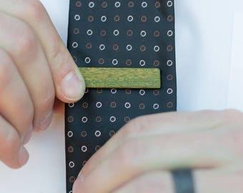 Wood Tie Clip - Green (Lignum Vitae)