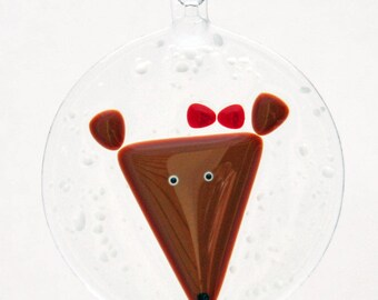 Glassworks Northwest -  Reindeer Girl in a Snowstorm - Fused Glass Ornament