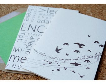Music Inspired Designer Stationery - Music Note Cards - Music Terms and Typography - Musical Note Cards - Note Card Birds in Flight