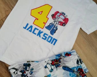 Rescue bots birthday shirt - boys transformer shirt and shorts