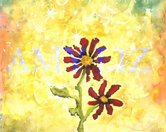 "Flower Red 9""x12"""