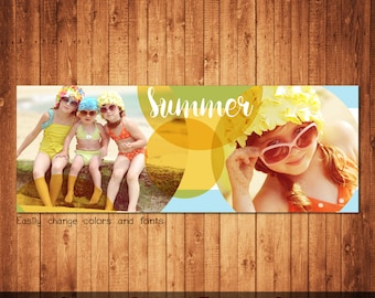 Summer Facebook Timeline Cover Template Photo Collage Photoshop template instant download