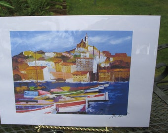 Seaside Port Print by Artist M Reuest Italy Colorful