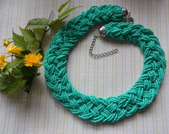 Green Glass Necklace, Green Seed Bead Plaited Necklace, Plaited Bead Necklace, Boho Necklace, Festival Necklace
