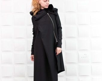 Hooded tunic, Oversized cardigan, Boho cardigan, Ruffle blouse, Plus size clothing, Tunic top, Loose sweater, Boho clothing, TUNIC/B0018