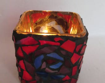Mosaic stained glass tea light candle holder.  Mosaic stained glass art . Votive candle holder. Stained glass candle holder.
