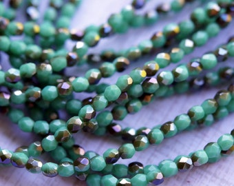3mm Green Turquoise Fire Polished Beads - Metallic Finish -  Faceted Beads - Czech Glass Beads - Bead Soup Beads