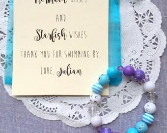 Mermaid party favor, mermaid bracelet, kids beaded jewelry, kids birthday party, SET of TEN.