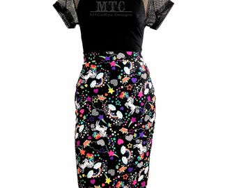 Neon Rainbow Unicorn Pencil Wiggle Skirt - All Sizes MTCoffinz