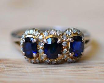 1.42 Carat Sapphire and Diamond Ring - Sapphire Engagement Ring - One Carat Sapphire Ring - Size 8 Sapphire Ring
