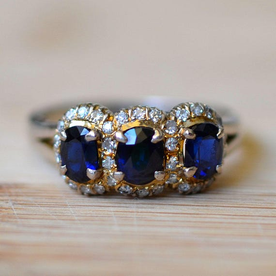 pin royal blue round diamond engagement ring carat one sapphire