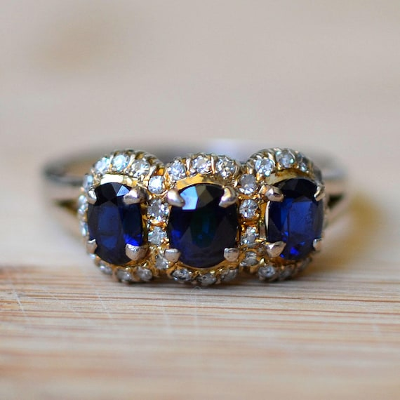 vintage custom sapphire ring white listing one il earth carat gold