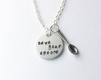 Save your spoons, spoon theory, chronic pain, spoon necklace, chronic illness, spoon jewelry, chronic pain necklace, fibromyalgia, lupus