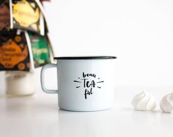 Enamel cup / travel mug / gift cup / coffee cup / beau tea full
