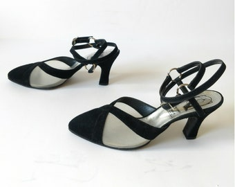 1990s Cut Out MESH Black VELVET O Ring Strappy Heels size 8