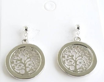 Earrings - shiny - silver plated - tree of life - great quality - post earrings