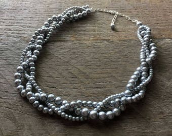 Pewter Grey Wedding Necklace, Braided Pearl Necklace, Pearl Bridal Necklace, Multi Strand Necklace on Silver or Gold Chain