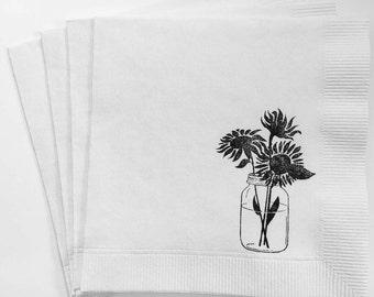 Handmade Napkin~Sunflower Napkin~ Mason Jar Napkin~Rehearsal Napkin~ Wedding Napkin, Set of 25