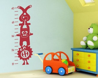 Monster Growth Chart Decal - 3 Silly Monsters Wall Decor - Kids Bedroom Decal - Monster Decor