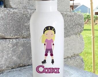 Rollerblade/Roller Derby girl/ bottle/stainless steel water bottle/ straw top/custom/personalized/kids bottle