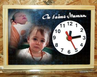 Style desk clock custom school slate 2 photos of your choice