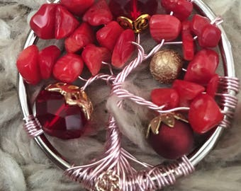 Red Berry Tree of Life Car Mirror Charm/Wall Decor/Sun Catcher