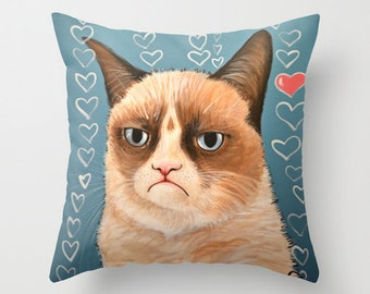 """Grumpy Cat decorative throw pillow cover .... from my original painting, """"Grumpy Cat...Love You""""...16"""" x 16""""... Ready to Ship"""
