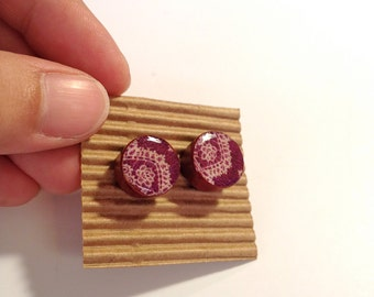 Cute Stud Earrings - Purple - Wooden Earrings - Faux Plugs - Printed Patterns