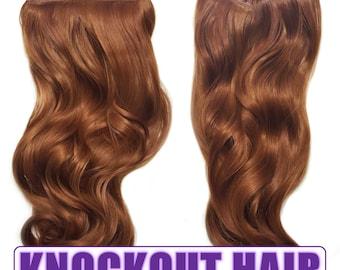 "Fits like a Halo Hair Extensions 20"" - 150 Grams 100% Premium Fiber Wavy Hair (Dark Auburn Mix - P#30/30Y)"