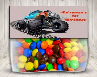 Monster Truck, Monster Truck Party, Treat Bag Toppers, Truck Party, Big Trucks, Boys Monster Truck, Truck Birthday Party, Pick Up Truck