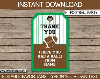 Football Favor Tags - Thank You Tags - Birthday Party Favors - INSTANT DOWNLOAD with EDITABLE text template - you personalize at home