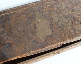 Pyrographic Art Wooden Antique Box Vintage Wood Burning Art Antique Wooden Box Vintage Wooden Box Art Nouveau