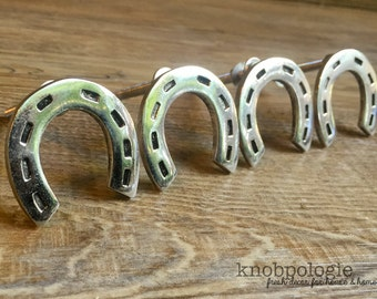 SET OF 4 - Silver Horseshoe Knobs - Western Horseshoe - Texas Star Knob - Cowboy Cowgirl Drawer Pull - Ranch Nursery Decor