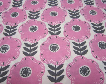 Pink and Gray Big Flower Cotton Fabric by Michael Miller Fabric Called Libby