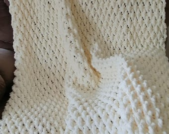Crochet Afghan Blanket, 43 x 58 inches, made with soft and bulky yarn in Antique White