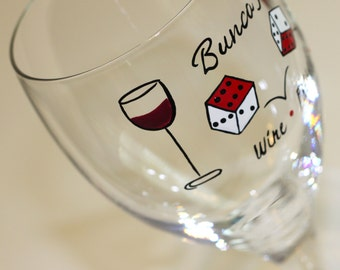 Personalized Bunco Wine Glass, Drunko Bunko Dice Ladies' Night Out Girls' Nite In Hand Painted Custom Personalized Red White Wine Glasses