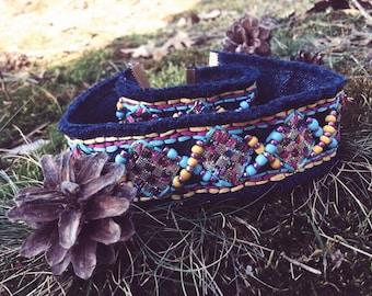 Denim jewelry set  / Denim necklace / Denim bracelet / Textile choker / Ethnic choker / Ethnic jewelry set / Jewelry embroidery